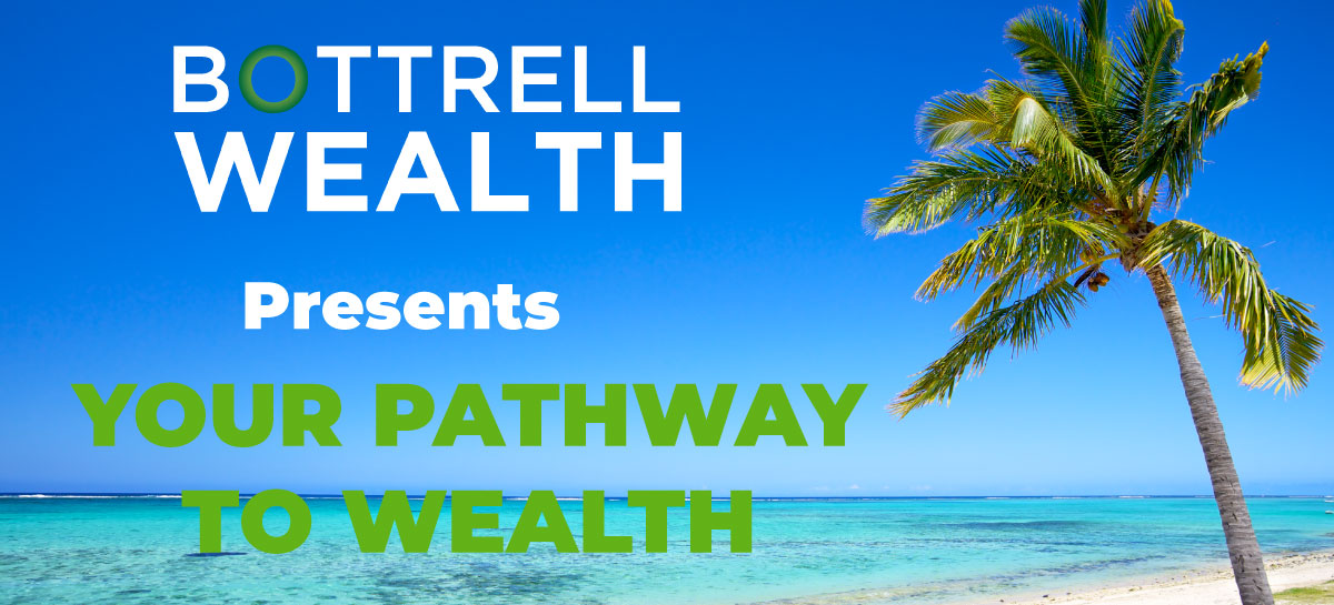 """Beach in the background with text on it - """"Bottrell Wealth presents Your Path to Wealth"""""""